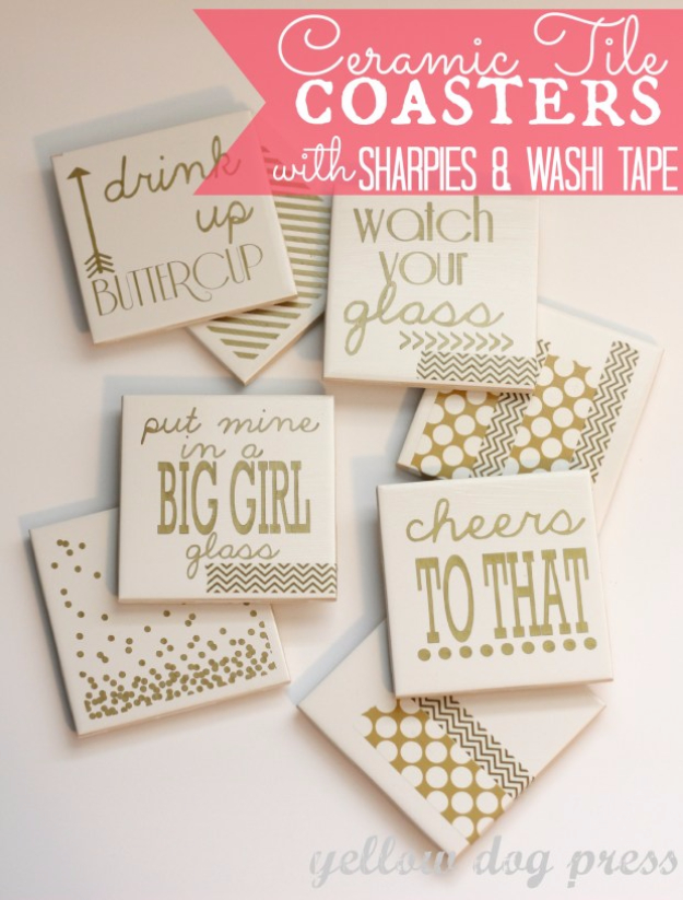 DIY Coasters - Ceramic Tile Coasters With Sharpies And Washi Tape - Best Quick DIY Gifts and Home Decor - Easy Step by Step Tutorials for DIY Coaster Projects - Mod Podge, Tile, Painted, Photo and Sewing Projects - Cool Christmas Presents for Him and Her - DIY Projects and Crafts by DIY Joy