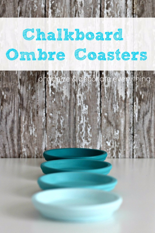 DIY Coasters - Chalkboard Ombre Coasters - Best Quick DIY Gifts and Home Decor - Easy Step by Step Tutorials for DIY Coaster Projects - Mod Podge, Tile, Painted, Photo and Sewing Projects - Cool Christmas Presents for Him and Her - DIY Projects and Crafts by DIY Joy