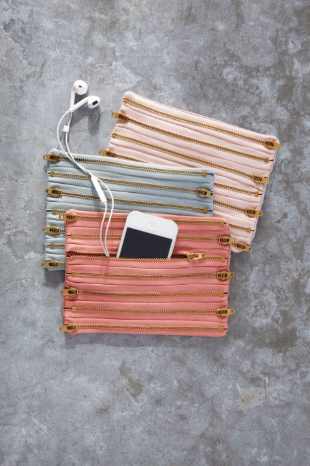 Creative DIY Projects With Zippers - Chic Zippered Pouch - Easy Crafts and Fashion Ideas With A Zipper - Jewelry, Home Decor, School Supplies and DIY Gift Ideas - Quick DIYs for Fun Weekend Projects http://diyjoy.com/diy-projects-zippers