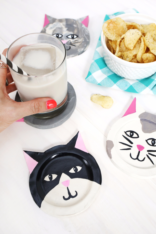 DIY Coasters - Clay Kitty Coaster DIY - Best Quick DIY Gifts and Home Decor - Easy Step by Step Tutorials for DIY Coaster Projects - Mod Podge, Tile, Painted, Photo and Sewing Projects - Cool Christmas Presents for Him and Her - DIY Projects and Crafts by DIY Joy