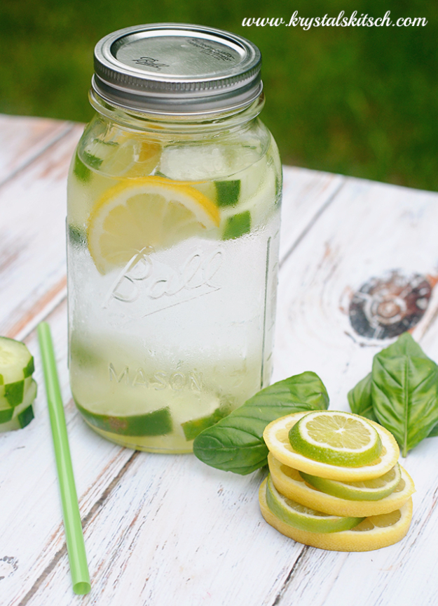 Best DIY Detox Waters and Recipes - Cucumber Lemon Lime Basil Infused Water - Homemade Detox Water Instructions and Tutorials - Lose Weight and Remove Toxins From the Body for Your New Years Resolutions - Easy and Quick Recipe Ideas for Getting Healthy in 2017 - DIY Projects and Crafts by DIY Joy