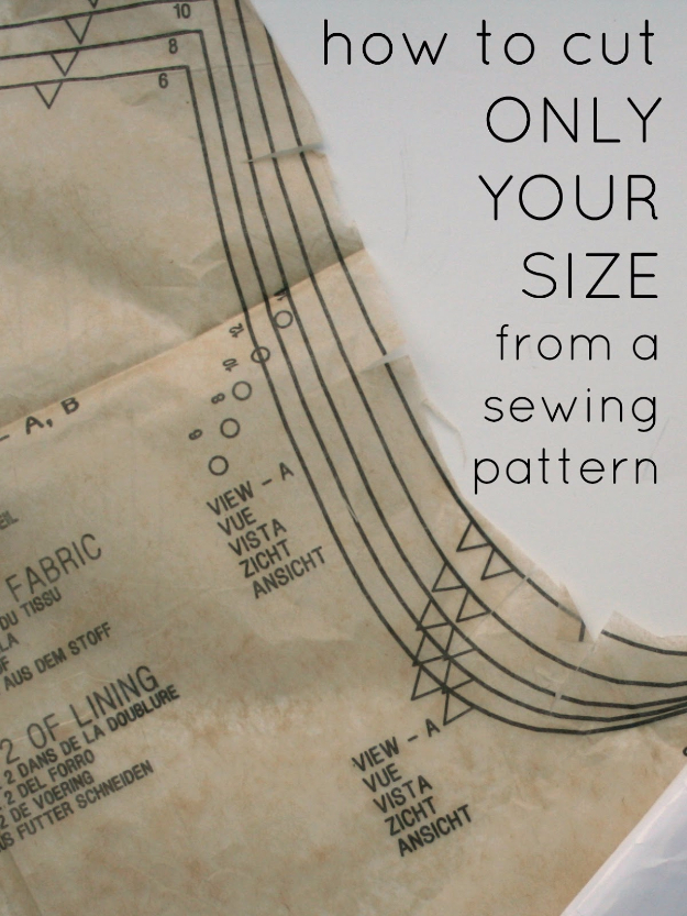 sewing hacks - Cut Out Your Size From A Pattern And Leave It Intact - Best Tips and Tricks for Sewing Patterns, Projects, Machines, Hand Sewn Items #sewing #hacks