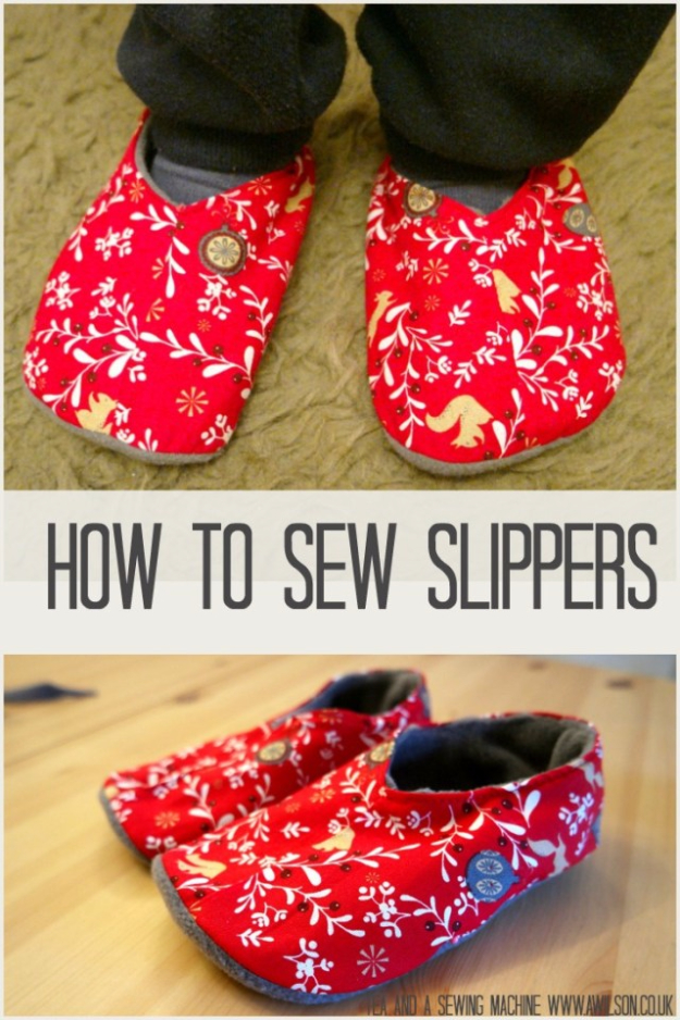 Best Sewing Projects to Make For Girls - Cute Slippers DIY - Creative Sewing Tutorials for Baby Kids and Teens - Free Patterns and Step by Step Tutorials for Dresses, Blouses, Shirts, Pants, Hats and Bags #sewing #sewingideas