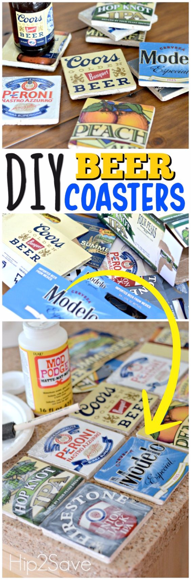 DIY Coasters - DIY Beer Coasters - Best Quick DIY Gifts and Home Decor - Easy Step by Step Tutorials for DIY Coaster Projects - Mod Podge, Tile, Painted, Photo and Sewing Projects - Cool Christmas Presents for Him and Her - DIY Projects and Crafts by DIY Joy