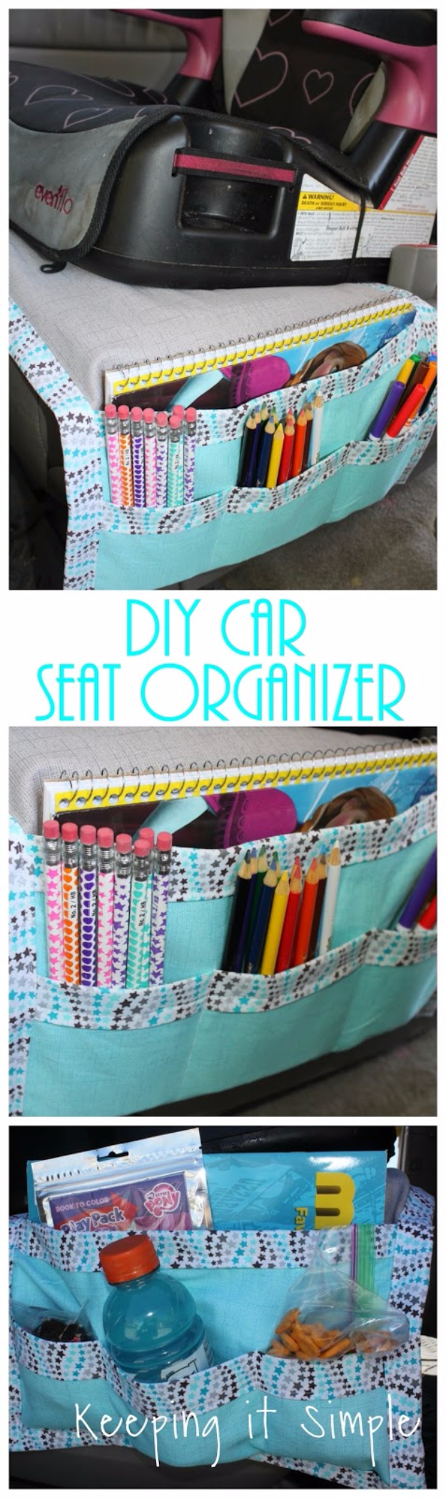 DIY Car Accessories and Ideas for Cars - DIY Car Seat Organizer - Interior and Exterior, Seats, Mirror, Seat Covers, Storage, Carpet and Window Cleaners and Products - Decor, Keys and Iphone and Tablet Holders - DIY Projects and Crafts for Women and Men