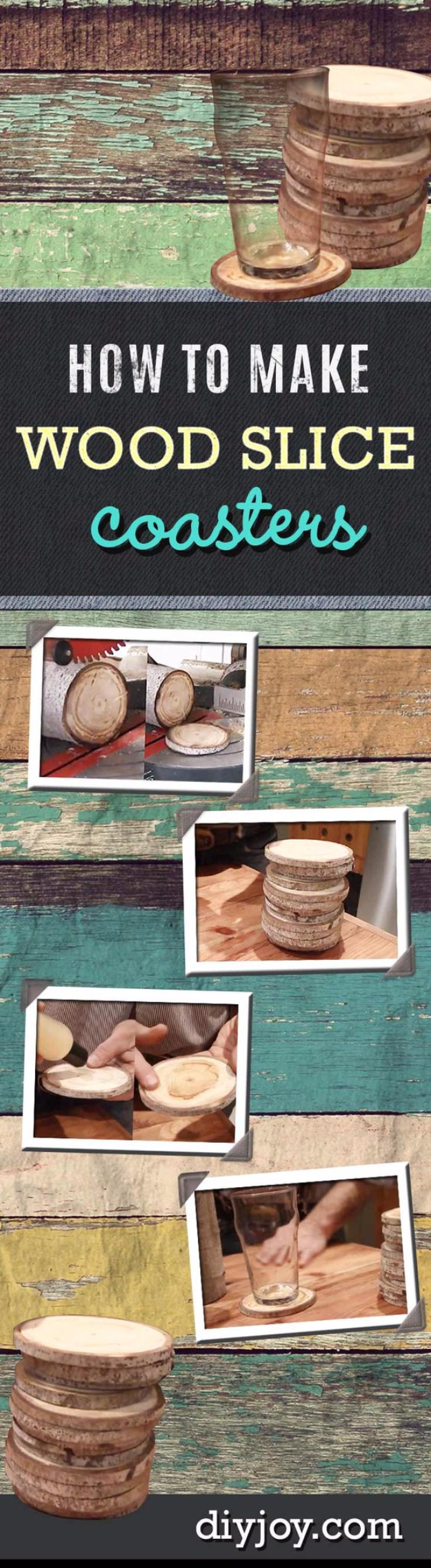 DIY Coasters - DIY Coasters From Wood Slices - Best Quick DIY Gifts and Home Decor - Easy Step by Step Tutorials for DIY Coaster Projects - Mod Podge, Tile, Painted, Photo and Sewing Projects - Cool Christmas Presents for Him and Her - DIY Projects and Crafts by DIY Joy http://diyjoy.com/diy-coasters
