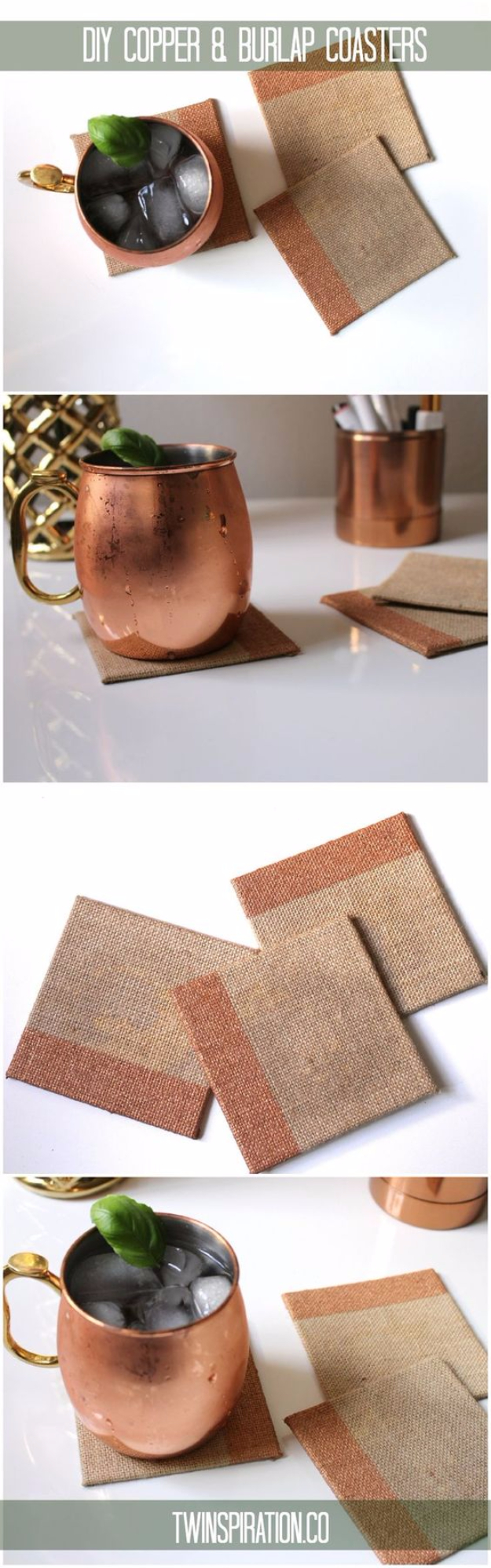 DIY Coasters - DIY Copper And Burlap Coasters - Best Quick DIY Gifts and Home Decor - Easy Step by Step Tutorials for DIY Coaster Projects - Mod Podge, Tile, Painted, Photo and Sewing Projects - Cool Christmas Presents for Him and Her - DIY Projects and Crafts by DIY Joy