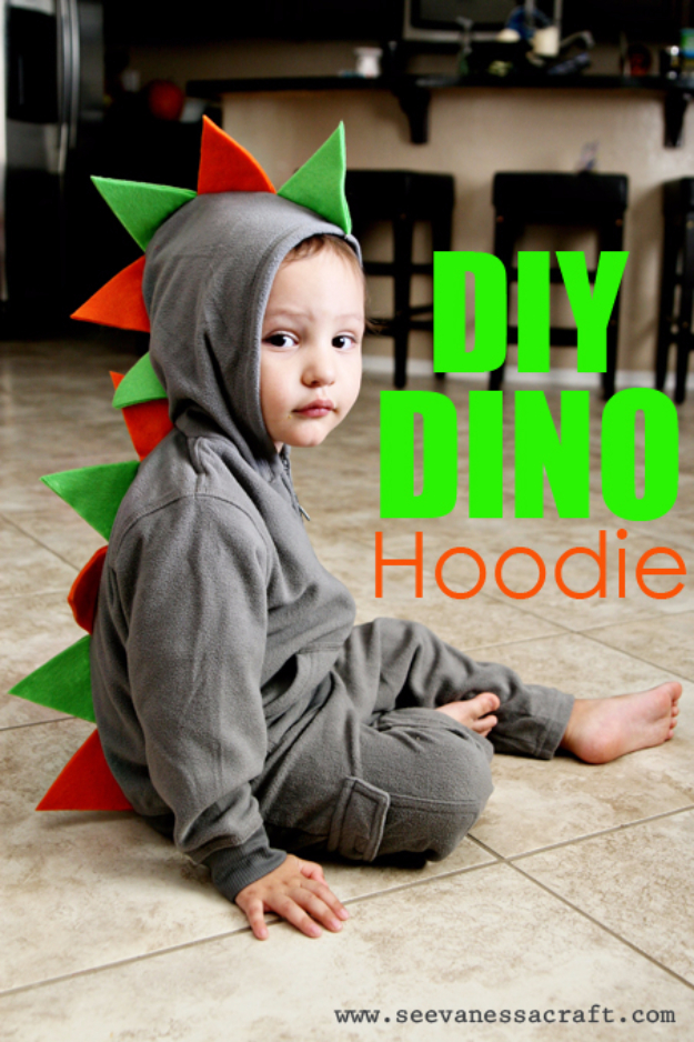 Cute Things to Make for Baby - DIY Dino Hoodie - Adorable DIY Gifts for Baby Shower Handmade -Easy Sewing Tutorials for Baby Kids and Teens - Free Patterns and Step by Step Tutorials for Jackets, Jeans, Shirts, Pants, Hats, Backpacks and Bags #sewing #kids #boys #sewingprojects