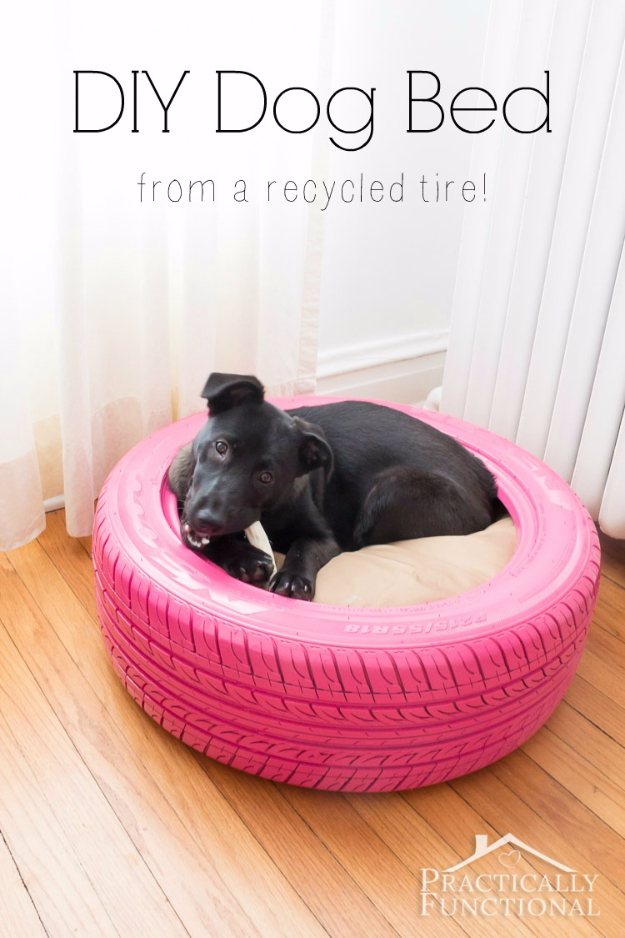 DIY Dog Hacks - DIY Dog Bed From A Recycled Tire - Training Tips, Ideas for Dog Beds and Toys, Homemade Remedies for Fleas and Scratching - Do It Yourself Dog Treat Recips, Food and Gear for Your Pet http://diyjoy.com/diy-dog-hacks