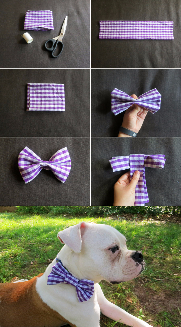 DIY Dog Hacks - DIY Dog Collar Bow Tie- Training Tips, Ideas for Dog Beds and Toys, Homemade Remedies for Fleas and Scratching - Do It Yourself Dog Treat Recips, Food and Gear for Your Pet #dogs #diy #crafts