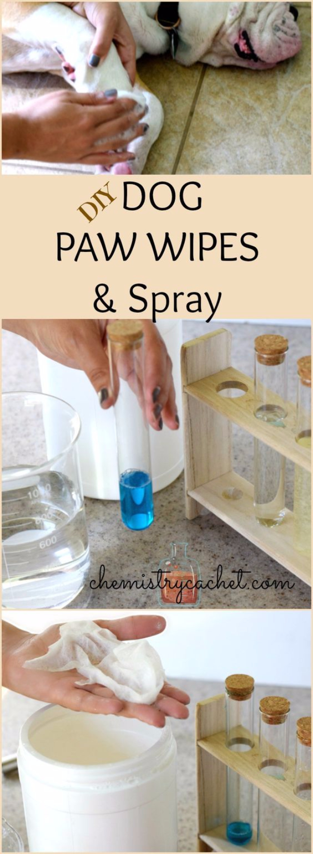 DIY Dog Hacks - DIY Dog Paw Wipes And Spray - Training Tips, Ideas for Dog Beds and Toys, Homemade Remedies for Fleas and Scratching - Do It Yourself Dog Treat Recips, Food and Gear for Your Pet #dogs #diy #crafts