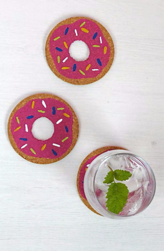 DIY Coasters - DIY Donut Coasters - Best Quick DIY Gifts and Home Decor - Easy Step by Step Tutorials for DIY Coaster Projects - Mod Podge, Tile, Painted, Photo and Sewing Projects - Cool Christmas Presents for Him and Her - DIY Projects and Crafts by DIY Joy