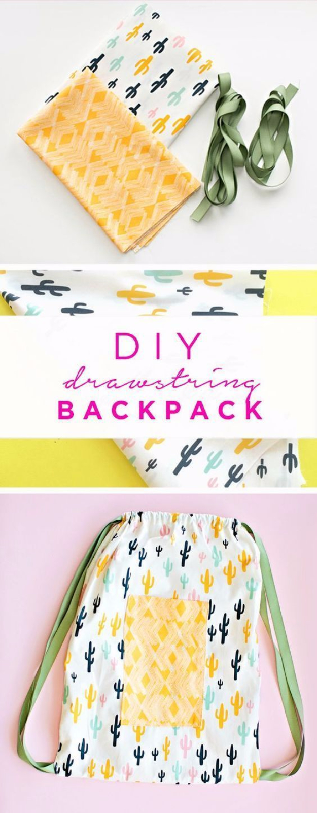 Best Sewing Projects to Make For Boys - DIY Drawstring Backpack - Creative Sewing Tutorials for Baby Kids and Teens - Free Patterns and Step by Step Tutorials for Jackets, Jeans, Shirts, Pants, Hats, Backpacks and Bags - Easy DIY Projects and Quick Crafts Ideas #sewing #kids #boys #sewingprojects