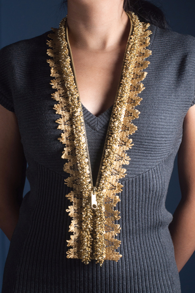 Creative DIY Projects With Zippers - DIY Embellished Lace Zipper Necklace - Easy Crafts and Fashion Ideas With A Zipper - Jewelry, Home Decor, School Supplies and DIY Gift Ideas - Quick DIYs for Fun Weekend Projects http://diyjoy.com/diy-projects-zippers