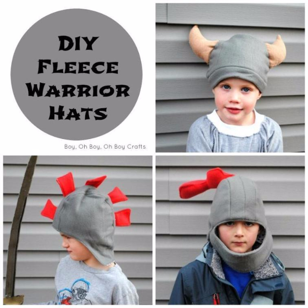 Best Sewing Projects to Make For Boys - DIY Fleece Warrior Hats - Creative Sewing Tutorials for Baby Kids and Teens - Free Patterns and Step by Step Tutorials for Jackets, Jeans, Shirts, Pants, Hats, Backpacks and Bags - Easy DIY Projects and Quick Crafts Ideas #sewing #kids #boys #sewingprojects