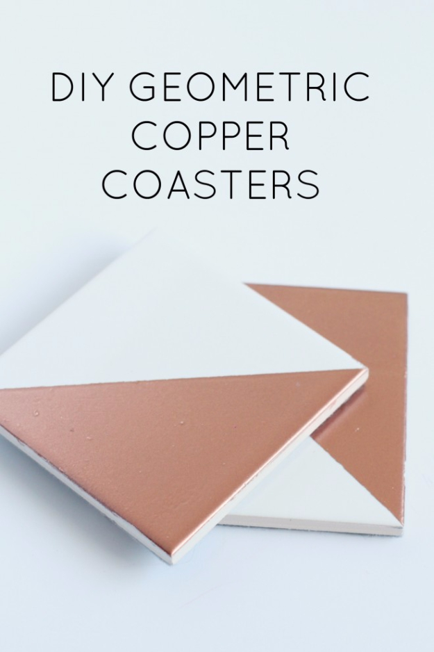 DIY Coasters - DIY Geometric Copper Coasters - Best Quick DIY Gifts and Home Decor - Easy Step by Step Tutorials for DIY Coaster Projects - Mod Podge, Tile, Painted, Photo and Sewing Projects - Cool Christmas Presents for Him and Her - DIY Projects and Crafts by DIY Joy http://diyjoy.com/diy-coasters