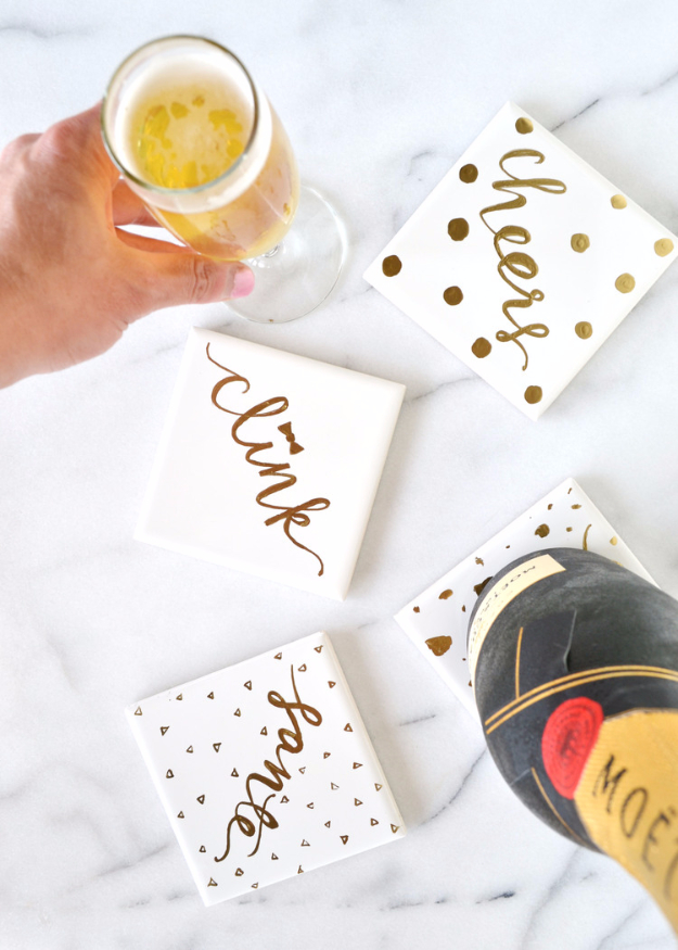 DIY Coasters - DIY Gold Gilded Coasters - Best Quick DIY Gifts and Home Decor - Easy Step by Step Tutorials for DIY Coaster Projects - Mod Podge, Tile, Painted, Photo and Sewing Projects - Cool Christmas Presents for Him and Her - DIY Projects and Crafts by DIY Joy