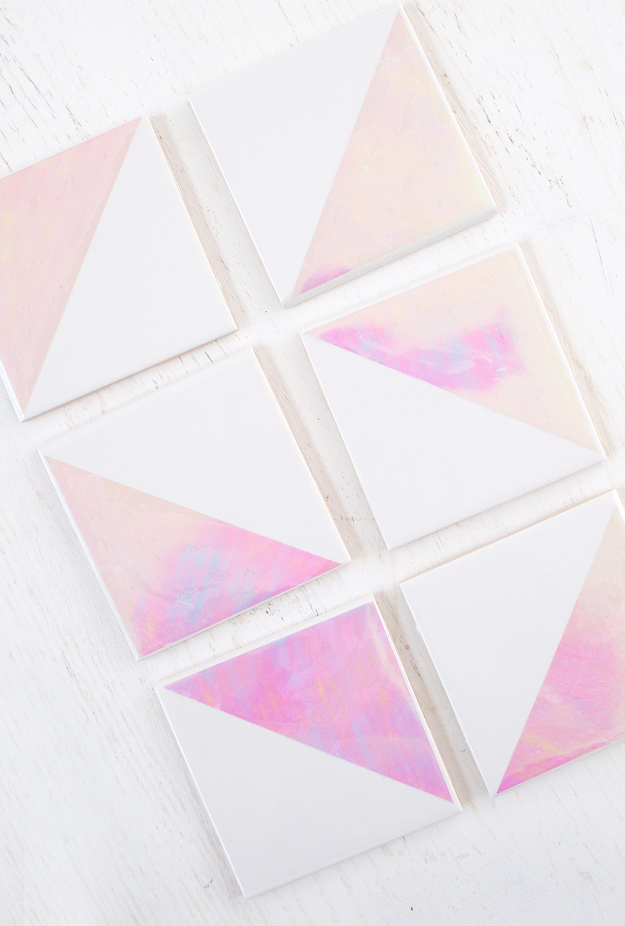DIY Coasters - DIY Holographic Coasters - Best Quick DIY Gifts and Home Decor - Easy Step by Step Tutorials for DIY Coaster Projects - Mod Podge, Tile, Painted, Photo and Sewing Projects - Cool Christmas Presents for Him and Her - DIY Projects and Crafts by DIY Joy http://diyjoy.com/diy-coasters
