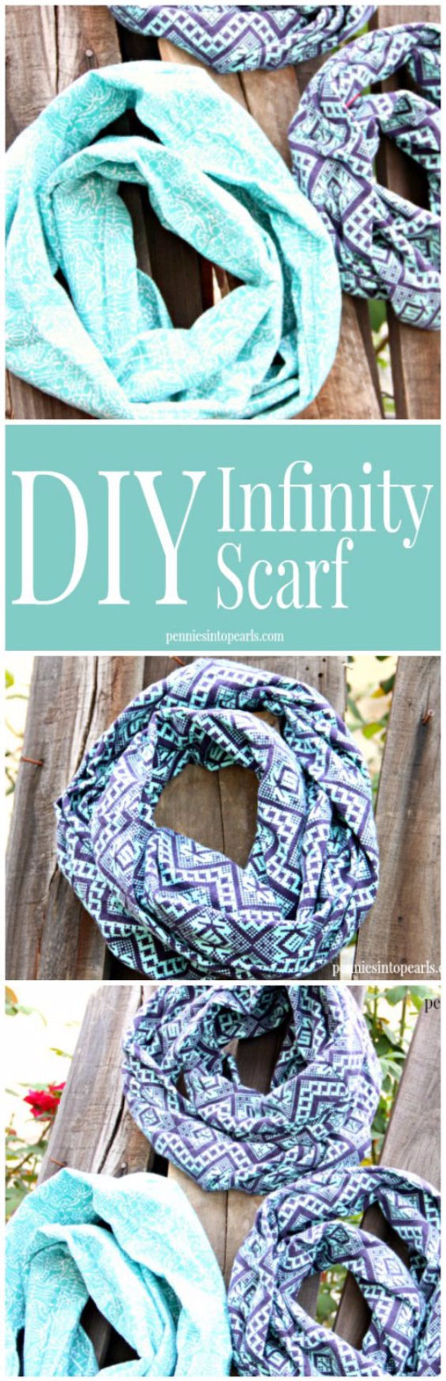 Best Sewing Projects to Make For Girls - DIY Infinity Scarf - Creative Sewing Tutorials for Baby Kids and Teens - Free Patterns and Step by Step Tutorials for Dresses, Blouses, Shirts, Pants, Hats and Bags #sewing #sewingideas