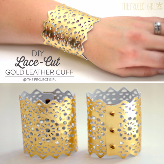 Creative Leather Crafts - DIY Lace Cut Gold Leather Cuff - Best DIY Projects Made With Leather - Easy Handmade Do It Yourself Gifts and Fashion - Cool Crafts and DYI Leather Projects With Step by Step Tutorials http://diyjoy.com/diy-leather-crafts