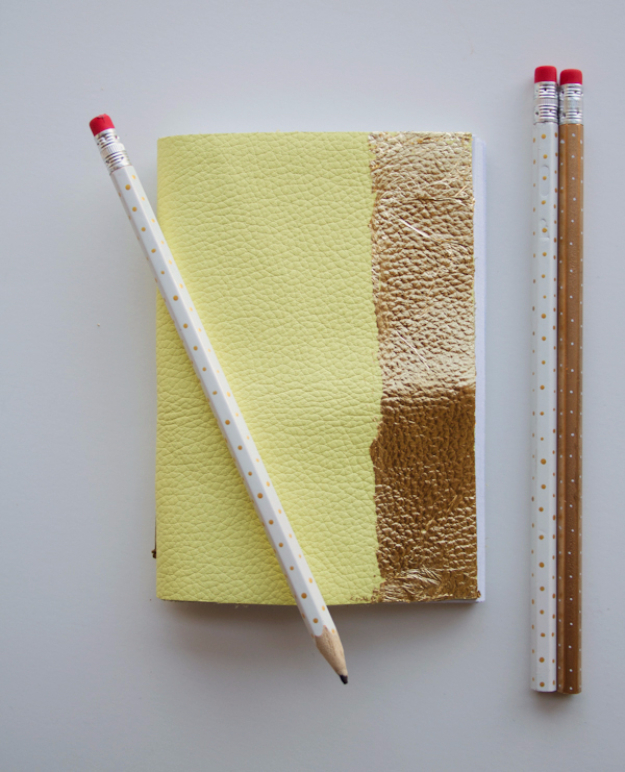 Creative Leather Crafts - DIY Leather And Gold Leaf Notebook - Best DIY Projects Made With Leather - Easy Handmade Do It Yourself Gifts and Fashion - Cool Crafts and DYI Leather Projects With Step by Step Tutorials http://diyjoy.com/diy-leather-crafts