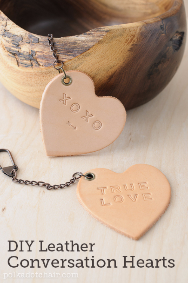 Creative Leather Crafts - DIY Leather Conversation Hearts - Best DIY Projects Made With Leather - Easy Handmade Do It Yourself Gifts and Fashion - Cool Crafts and DYI Leather Projects With Step by Step Tutorials http://diyjoy.com/diy-leather-crafts