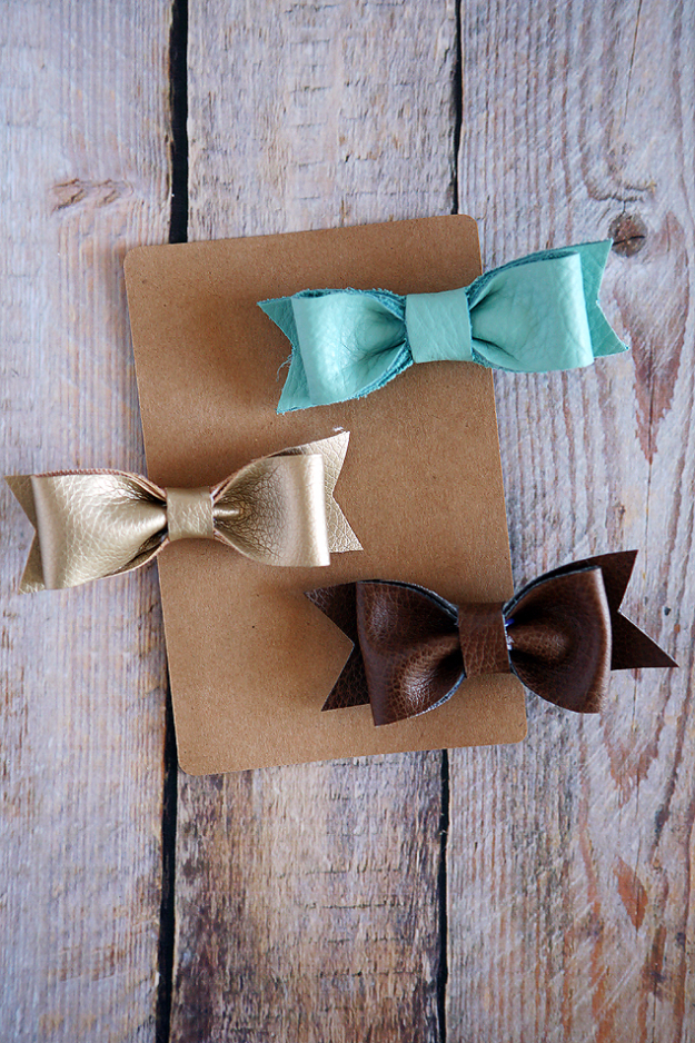 Creative Leather Crafts - DIY Leather Hair Bows - Best DIY Projects Made With Leather - Easy Handmade Do It Yourself Gifts and Fashion - Cool Crafts and DYI Leather Projects With Step by Step Tutorials http://diyjoy.com/diy-leather-crafts