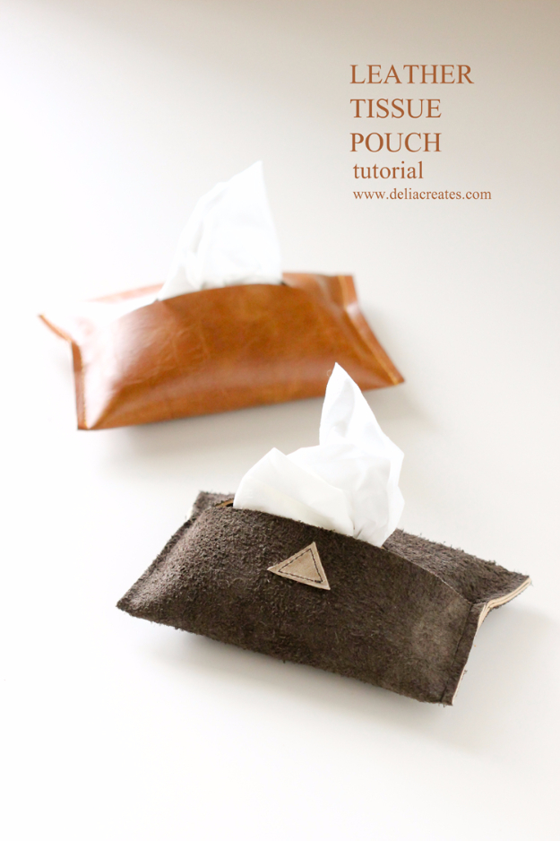 Creative Leather Crafts - DIY Leather Tissue Pouch - Best DIY Projects Made With Leather - Easy Handmade Do It Yourself Gifts and Fashion - Cool Crafts and DYI Leather Projects With Step by Step Tutorials http://diyjoy.com/diy-leather-crafts