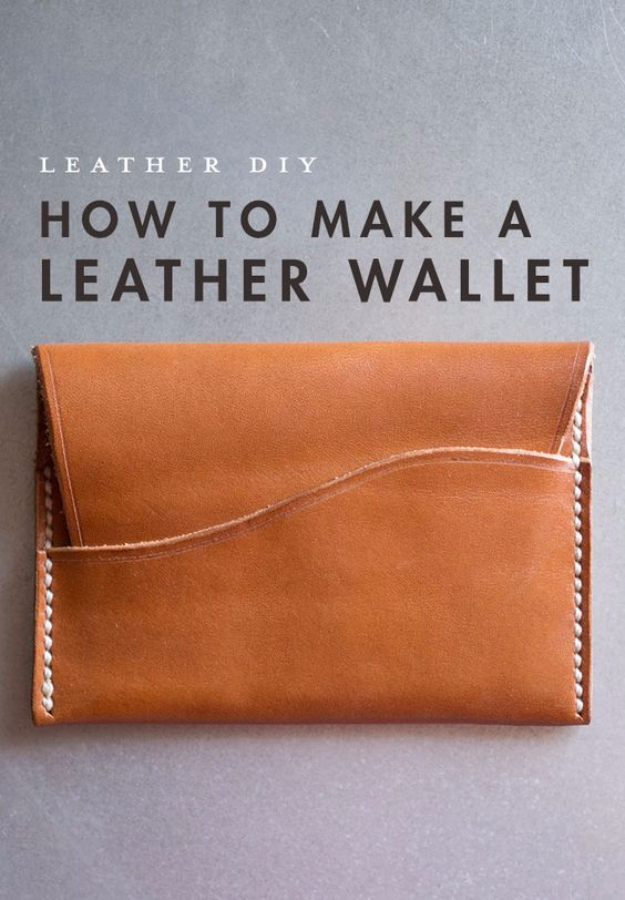 Creative Leather Crafts - DIY Leather Wallet - Best DIY Projects Made With Leather - Easy Handmade Do It Yourself Gifts and Fashion - Cool Crafts and DYI Leather Projects With Step by Step Tutorials http://diyjoy.com/diy-leather-crafts