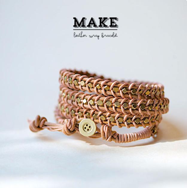 Creative Leather Crafts - DIY Leather Wrap Bracelet - Best DIY Projects Made With Leather - Easy Handmade Do It Yourself Gifts and Fashion - Cool Crafts and DYI Leather Projects With Step by Step Tutorials http://diyjoy.com/diy-leather-crafts