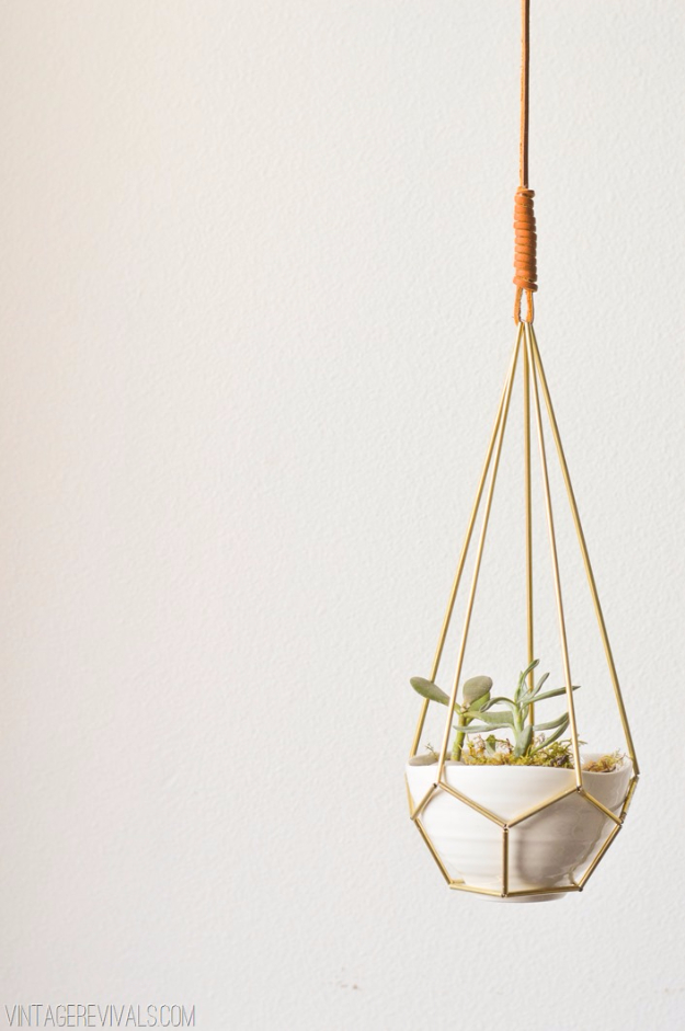 Creative Leather Crafts - DIY Leather and Brass Teardrop Hanging Planter - Best DIY Projects Made With Leather - Easy Handmade Do It Yourself Gifts and Fashion - Cool Crafts and DYI Leather Projects With Step by Step Tutorials http://diyjoy.com/diy-leather-crafts