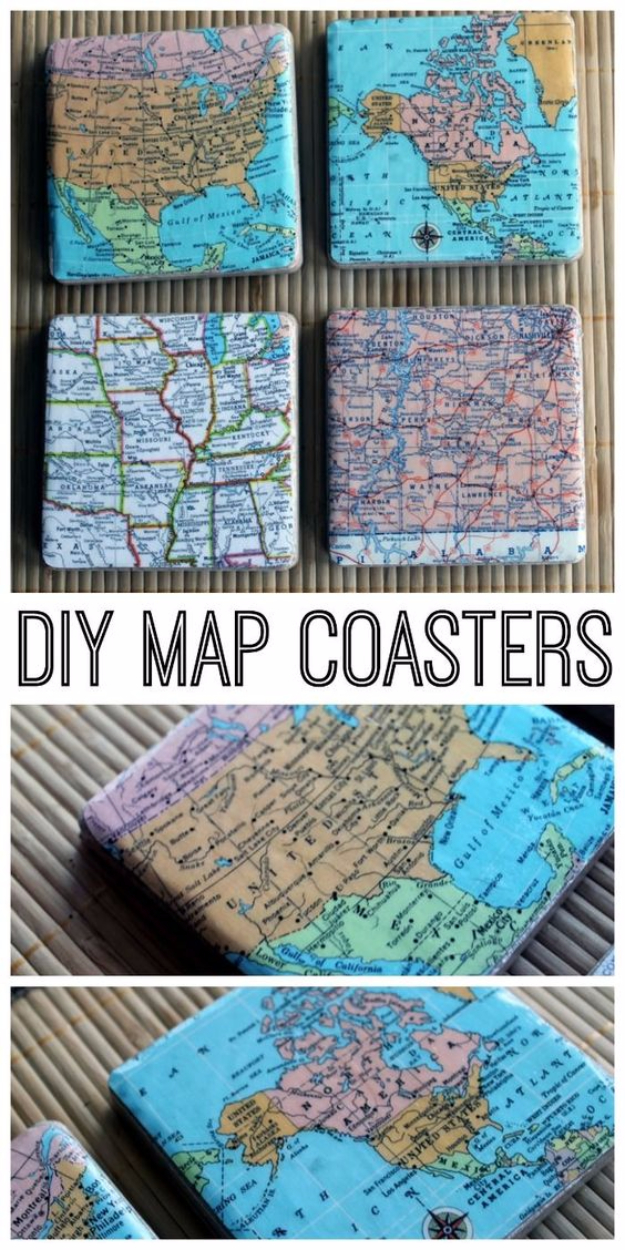DIY Coasters - DIY Map Coasters - Best Quick DIY Gifts and Home Decor - Easy Step by Step Tutorials for DIY Coaster Projects - Mod Podge, Tile, Painted, Photo and Sewing Projects - Cool Christmas Presents for Him and Her - DIY Projects and Crafts by DIY Joy http://diyjoy.com/diy-coasters