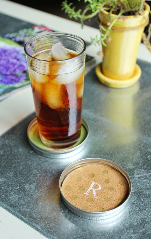 DIY Coasters - DIY Mason Jar Lid Coasters - Best Quick DIY Gifts and Home Decor - Easy Step by Step Tutorials for DIY Coaster Projects - Mod Podge, Tile, Painted, Photo and Sewing Projects - Cool Christmas Presents for Him and Her - DIY Projects and Crafts by DIY Joy http://diyjoy.com/diy-coasters