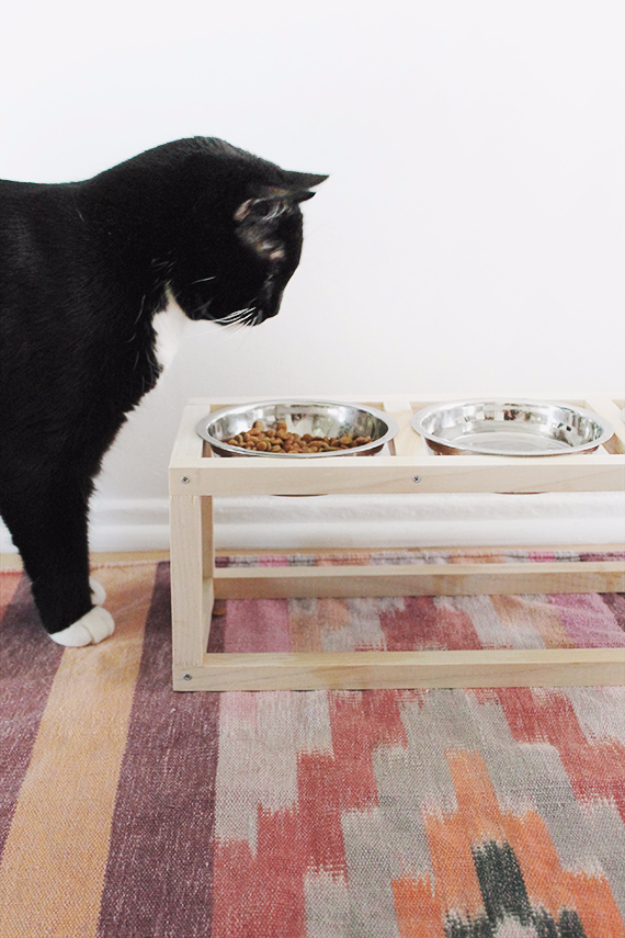 DIY Cat Hacks - DIY Modern Pet Bowl Stand - Tips and Tricks Ideas for Cat Beds and Toys, Homemade Remedies for Fleas and Scratching - Do It Yourself Cat Treat Recips, Food and Gear for Your Pet - Cool Gifts for Cats #cathacks #cats #pets