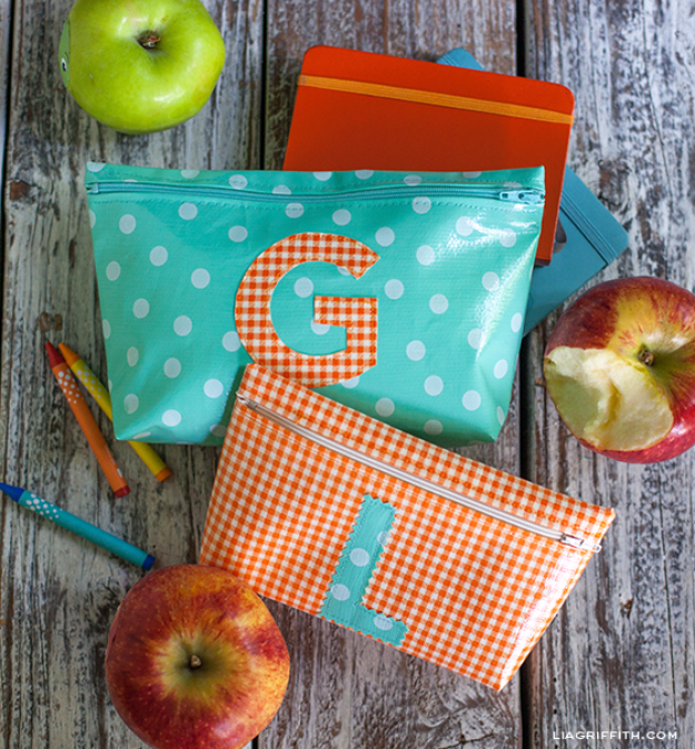Best Sewing Projects to Make For Girls - DIY Monogrammed Zipper Bags - Creative Sewing Tutorials for Baby Kids and Teens - Free Patterns and Step by Step Tutorials for Dresses, Blouses, Shirts, Pants, Hats and Bags #sewing #sewingideas