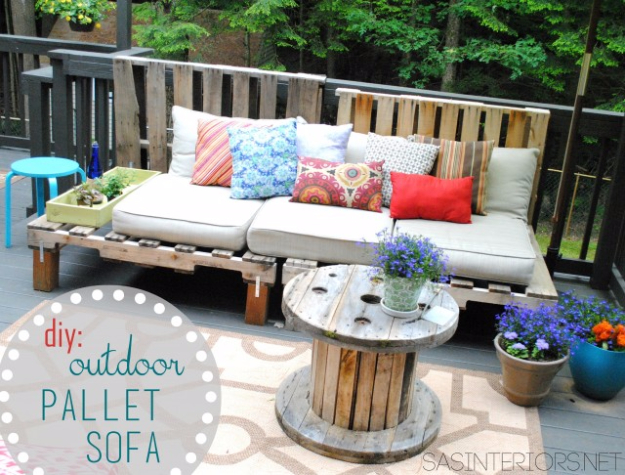 Best DIY Pallet Furniture Ideas - DIY Outdoor Pallet Sofa - Cool Pallet Tables, Sofas, End Tables, Coffee Table, Bookcases, Wine Rack, Beds and Shelves - Rustic Wooden Pallet Furniture Made Easy With Step by Step Tutorials - Quick DIY Projects and Crafts by DIY Joy http://diyjoy.com/best-diy-pallet-furniture-ideas