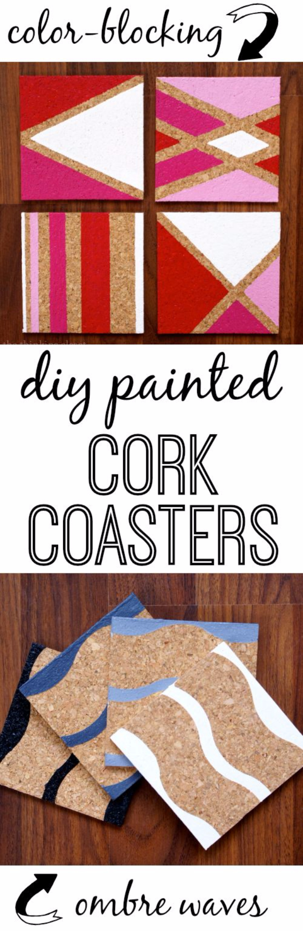 DIY Coasters - DIY Painted Cork Coasters - Best Quick DIY Gifts and Home Decor - Easy Step by Step Tutorials for DIY Coaster Projects - Mod Podge, Tile, Painted, Photo and Sewing Projects - Cool Christmas Presents for Him and Her - DIY Projects and Crafts by DIY Joy http://diyjoy.com/diy-coasters