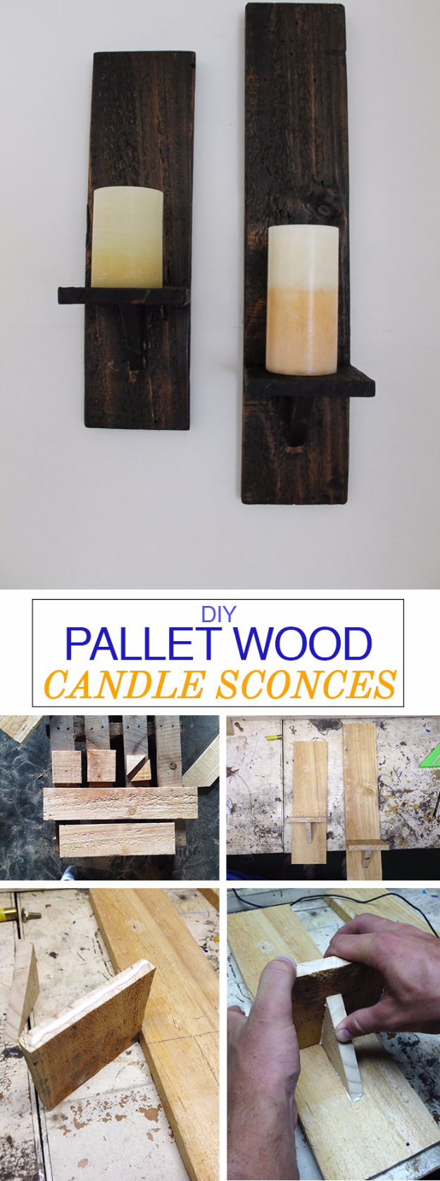 Best DIY Pallet Furniture Ideas - DIY Pallet Wood Candle Sconces - Cool Pallet Tables, Sofas, End Tables, Coffee Table, Bookcases, Wine Rack, Beds and Shelves - Rustic Wooden Pallet Furniture Made Easy With Step by Step Tutorials - Quick DIY Projects and Crafts by DIY Joy