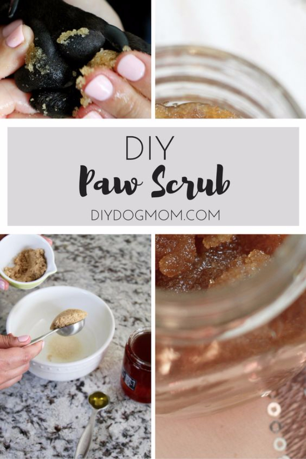 DIY Dog Hacks - DIY Paw Scrub - Training Tips, Ideas for Dog Beds and Toys, Homemade Remedies for Fleas and Scratching - Do It Yourself Dog Treat Recips, Food and Gear for Your Pet #dogs #diy #crafts