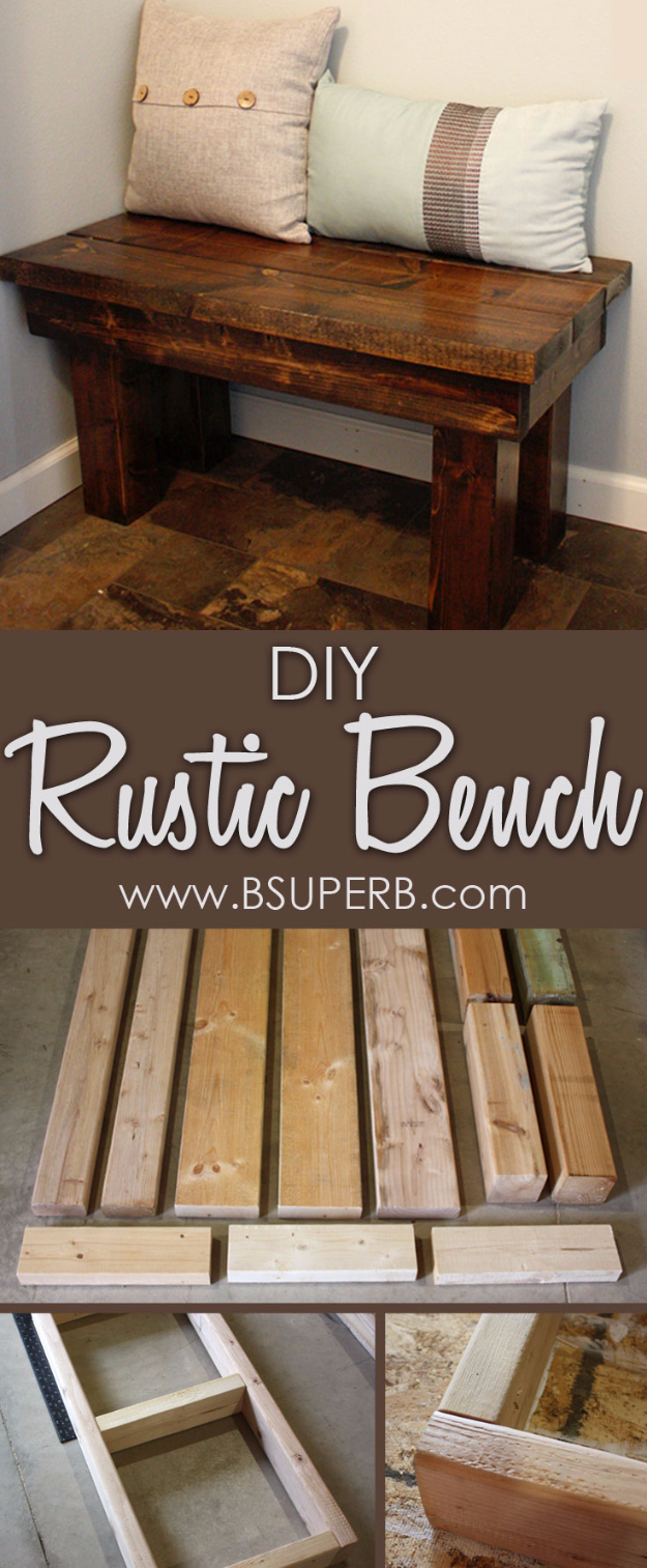 Best DIY Pallet Furniture Ideas - DIY Rustic Bench - Cool Pallet Tables, Sofas, End Tables, Coffee Table, Bookcases, Wine Rack, Beds and Shelves - Rustic Wooden Pallet Furniture Made Easy With Step by Step Tutorials - Quick DIY Projects and Crafts by DIY Joy