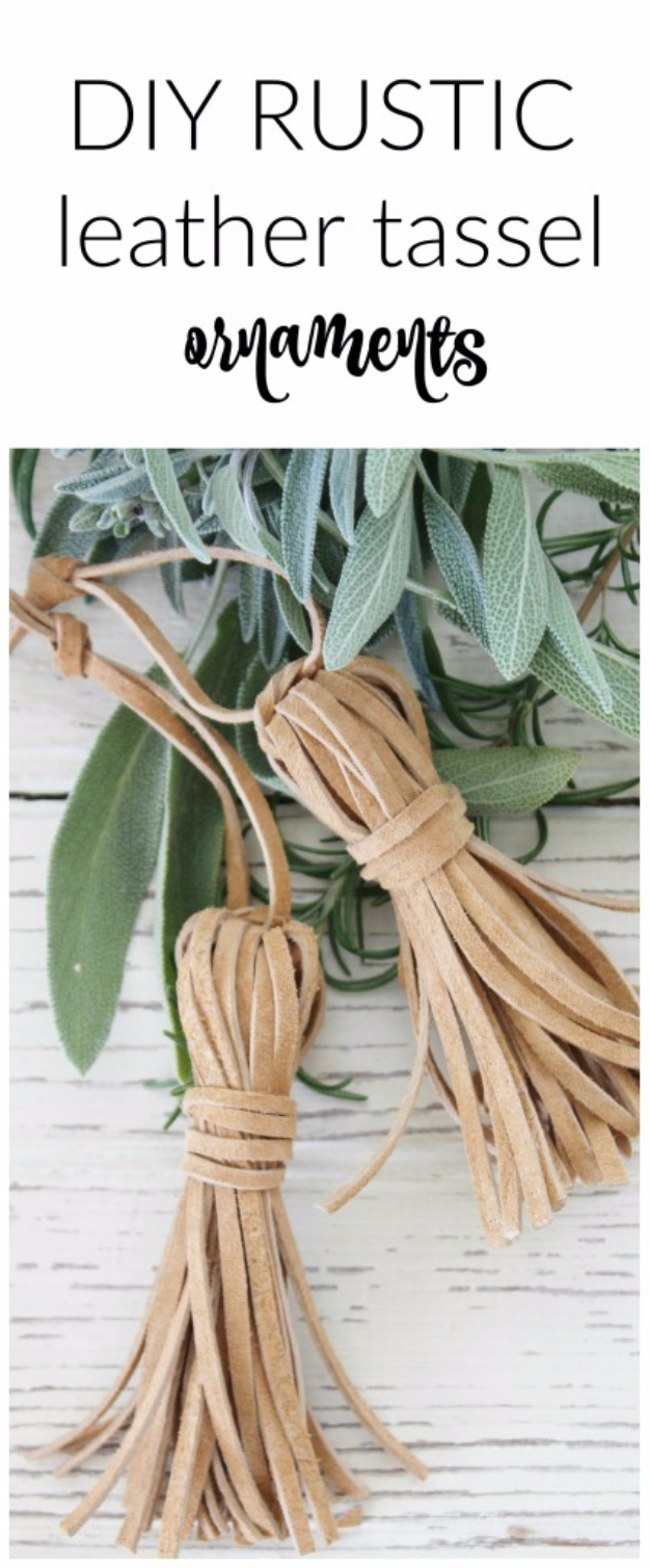 Creative Leather Crafts - DIY Rustic Leather Tassel Ornaments - Best DIY Projects Made With Leather - Easy Handmade Do It Yourself Gifts and Fashion - Cool Crafts and DYI Leather Projects With Step by Step Tutorials http://diyjoy.com/diy-leather-crafts