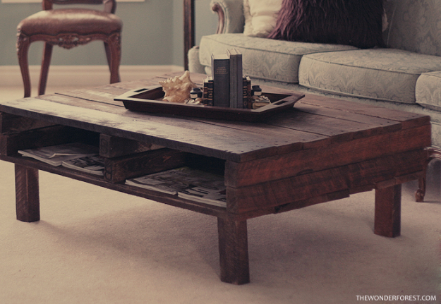 Best DIY Pallet Furniture Ideas - DIY Rustic Pallet Coffee Table - Cool Pallet Tables, Sofas, End Tables, Coffee Table, Bookcases, Wine Rack, Beds and Shelves - Rustic Wooden Pallet Furniture Made Easy With Step by Step Tutorials - Quick DIY Projects and Crafts by DIY Joy
