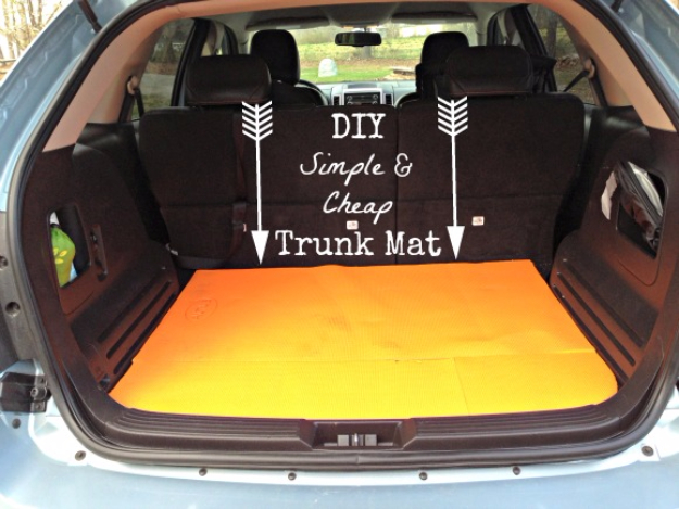 DIY Car Accessories and Ideas for Cars - DIY Simple And Cheap Trunk Mat - Interior and Exterior, Seats, Mirror, Seat Covers, Storage, Carpet and Window Cleaners and Products - Decor, Keys and Iphone and Tablet Holders - DIY Projects and Crafts for Women and Men