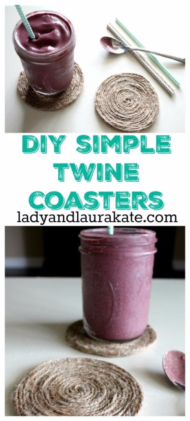 DIY Coasters - DIY Simple Twine Coasters - Best Quick DIY Gifts and Home Decor - Easy Step by Step Tutorials for DIY Coaster Projects - Mod Podge, Tile, Painted, Photo and Sewing Projects - Cool Christmas Presents for Him and Her - DIY Projects and Crafts by DIY Joy http://diyjoy.com/diy-coasters