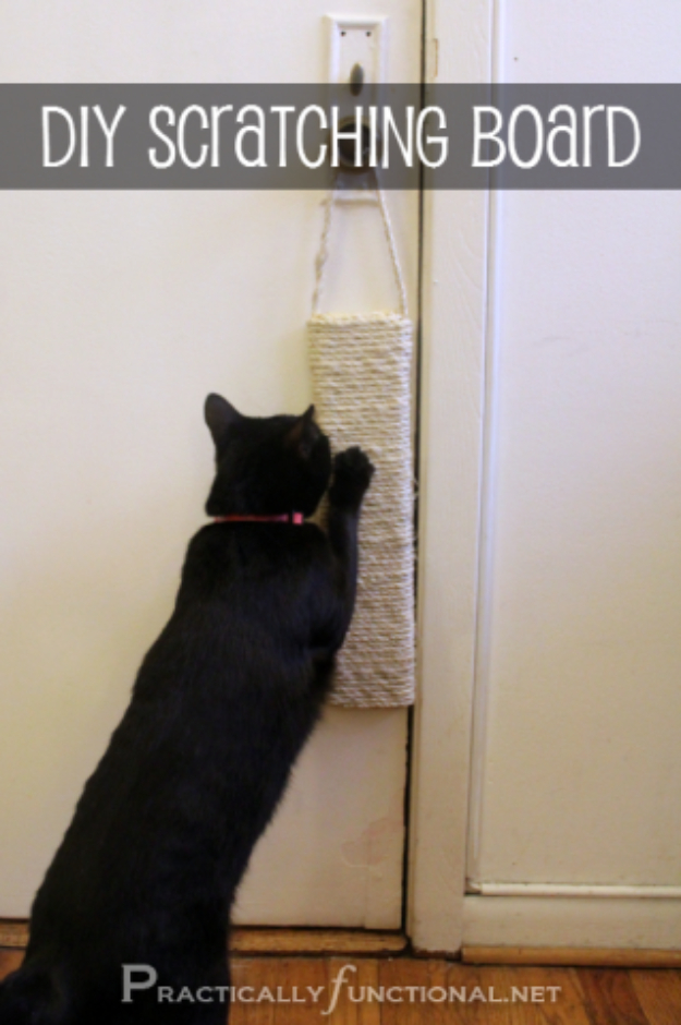 DIY Cat Hacks - DIY Sisal Scratching Post - Tips and Tricks Ideas for Cat Beds and Toys, Homemade Remedies for Fleas and Scratching - Do It Yourself Cat Treat Recips, Food and Gear for Your Pet - Cool Gifts for Cats #cathacks #cats #pets