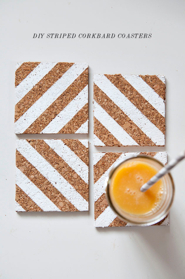 DIY Coasters - DIY Striped Corkboard Coasters - Best Quick DIY Gifts and Home Decor - Easy Step by Step Tutorials for DIY Coaster Projects - Mod Podge, Tile, Painted, Photo and Sewing Projects - Cool Christmas Presents for Him and Her - DIY Projects and Crafts by DIY Joy http://diyjoy.com/diy-coasters