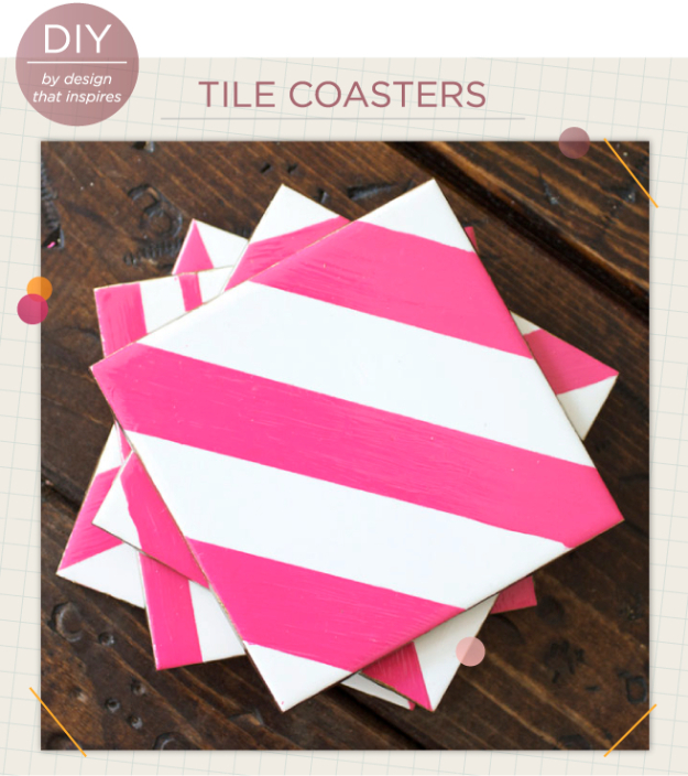 DIY Coasters - DIY Tile Coasters - Best Quick DIY Gifts and Home Decor - Easy Step by Step Tutorials for DIY Coaster Projects - Mod Podge, Tile, Painted, Photo and Sewing Projects - Cool Christmas Presents for Him and Her - DIY Projects and Crafts by DIY Joy http://diyjoy.com/diy-coasters