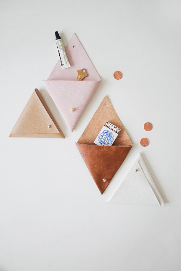 Creative Leather Crafts - DIY Triangle Leather Pouch - Best DIY Projects Made With Leather - Easy Handmade Do It Yourself Gifts and Fashion - Cool Crafts and DYI Leather Projects With Step by Step Tutorials http://diyjoy.com/diy-leather-crafts