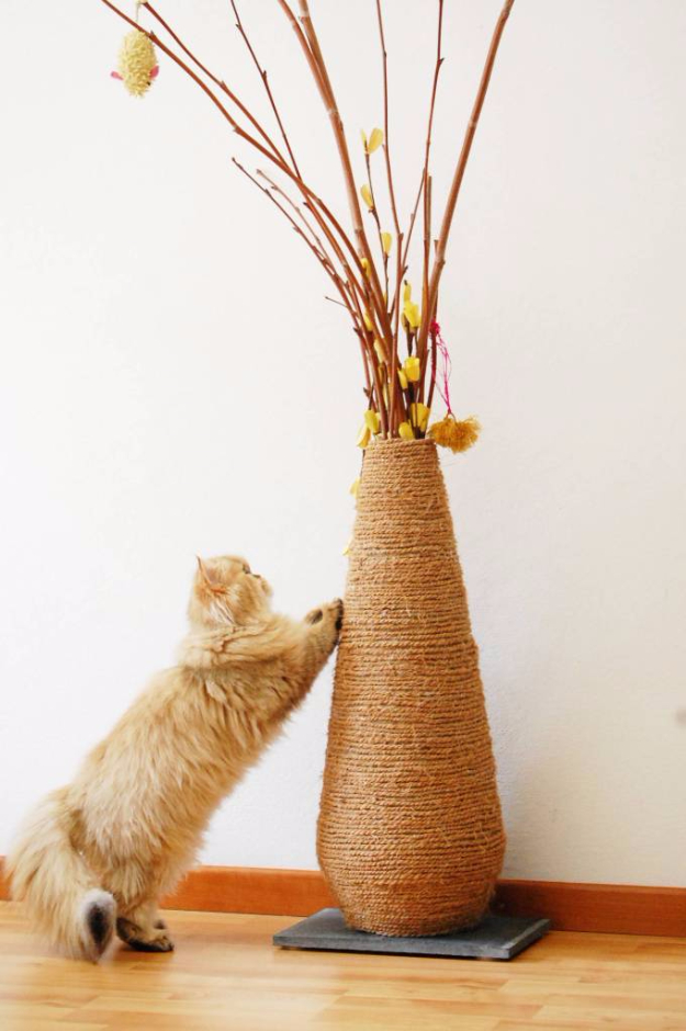 DIY Cat Hacks - DIY Vase Scratching Post - Tips and Tricks Ideas for Cat Beds and Toys, Homemade Remedies for Fleas and Scratching - Do It Yourself Cat Treat Recips, Food and Gear for Your Pet - Cool Gifts for Cats http://diyjoy.com/diy-cat-hacks