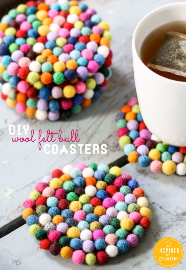 DIY Coasters - DIY Wool Felt Ball Coasters - Best Quick DIY Gifts and Home Decor - Easy Step by Step Tutorials for DIY Coaster Projects - Mod Podge, Tile, Painted, Photo and Sewing Projects - Cool Christmas Presents for Him and Her - DIY Projects and Crafts by DIY Joy http://diyjoy.com/diy-coasters